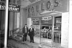 Tom Koulos in front of restaurant 1967